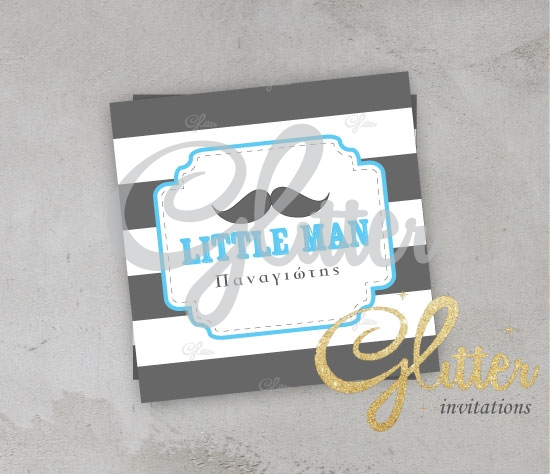 Mustache Thank You Card Glitter Invitations